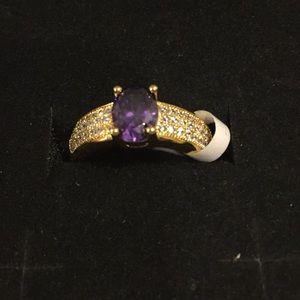 Jewelry - New Amethyst and White Topaz Brass Ring